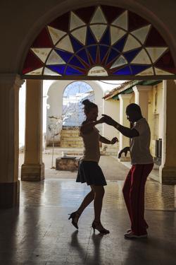 Cuba, Trinidad, Casa De Culture, Couple Salsa Dancing by Jane Sweeney