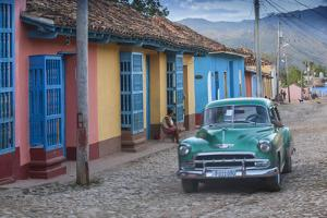 Cuba, Trinidad, Classic American Car in Historical Center by Jane Sweeney