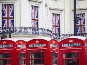 England, London, the Strand, Red Telephone Box and Union Jack Bunting to Celebrate the Queens Diamo by Jane Sweeney