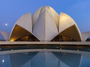 India, Delhi, New Delhi, Full Moon Over the Bahai House of Worship Know As the The Lotus Temple by Jane Sweeney