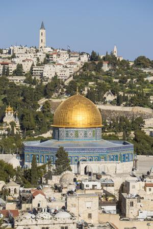 Israel, Jerusalem, View of the Old City,  Dome of the Rock on Temple Mount, and the Mount of Olives by Jane Sweeney