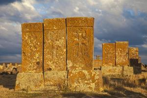 Khachkars at Noratus Cemetery, Lake Seven, Armenia, Central Asia, Asia by Jane Sweeney
