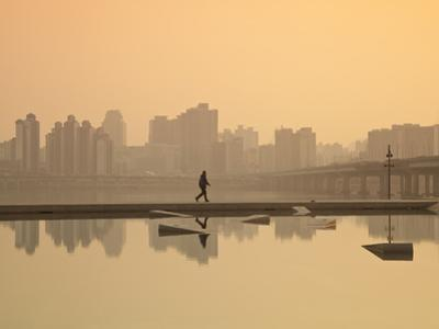 Korea, Seoul, Yeouido, View of City from Hangang Riverside Park at Dawn by Jane Sweeney