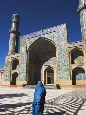 Lady Wearing a Blue Burqua Outside the Friday Mosque (Masjet-E Jam), Herat, Afghanistan by Jane Sweeney