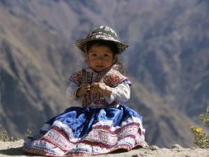 Little Girl in Traditional Dress, Colca Canyon, Peru, South America by Jane Sweeney