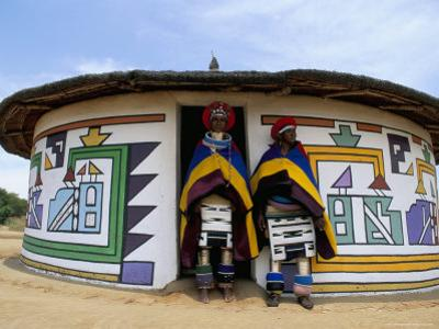 Nbelle (Ndbele) Ladies Outside House, Mabhoko (Weltevre) Nbelle Village, South Africa, Africa by Jane Sweeney
