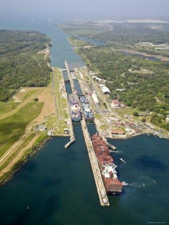 Panama, Panama Canal, Container Ships in Gatun Locks by Jane Sweeney