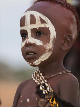 Portrait of a Hamer (Hamar) Child at Evangadi Dancing (Night Dance), Dombo Village, Turmi, Ethiopia by Jane Sweeney