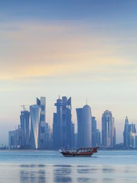 Qatar, Doha, Looking Across Doha Bay To Skyscrapers of West Bay by Jane Sweeney