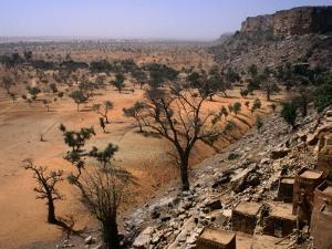 Rooftops of Ende Village on the Bandiagara Escarpment and Plains Below, Ende, Mopti, Mali by Jane Sweeney