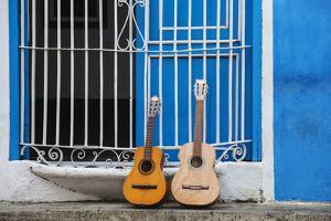 Santiago De Cuba Province, Historical Center, Calle Heredia, Guitars by Balcony by Jane Sweeney