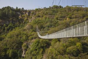 Tourists Crossing Swinging Bridge over Khndzoresk Canyon by Jane Sweeney