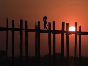 U Bein Bridge, Taugthaman Lake, Amarapura, Mandalay, Myanmar by Jane Sweeney