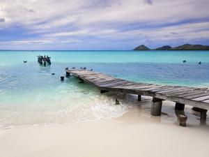 Venezuela, Archipelago Los Roques National Park, Pier on Madrisque Island by Jane Sweeney