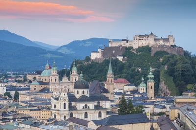 View of Hohensalzburg Castle above The Old City, UNESCO World Heritage Site, Salzburg, Austria, Eur