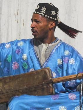 Whirling Dirvish Playes Instrument, Medina, Old City, Marrrakesh, Morocco by Jane Sweeney