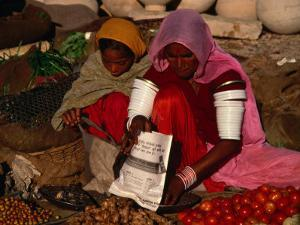 Women Selling Vegetables and Nuts at Jaisalmer Street Market, Jaisalmer, Rajasthan, India by Jane Sweeney