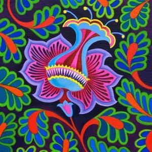 Persian floral, 2020, (oil on canvas) by Jane Tattersfield