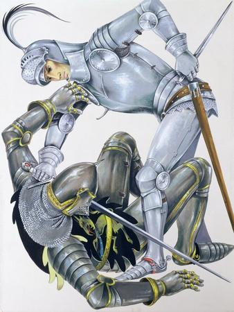 The Big Knight Is Slain by Sir Lancelot, an Illustration for 'Sir Lancelot of the Lake', by Roger…