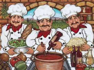Three Happy Chefs by Janet Kruskamp