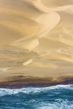 Namibia. Aerial of Namibian Sand Dunes Meeting the Atlantic Ocean by Janet Muir