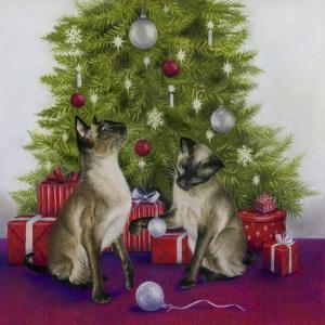 Christmas Siamese Cats by Janet Pidoux