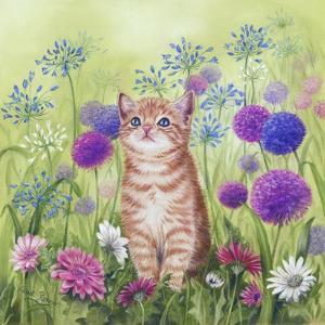 Ginger Kitten in Flowers by Janet Pidoux