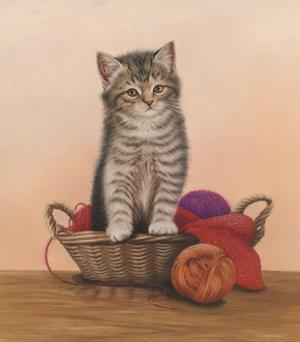 Kitten and Wool Basket by Janet Pidoux