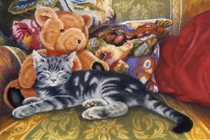 Kitten, Teddy and Cushions by Janet Pidoux