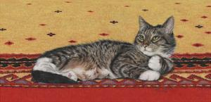 Sam on Patterned Rug by Janet Pidoux