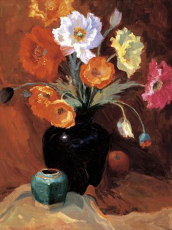 Poppies in Black Vase