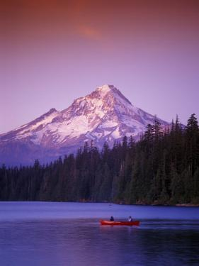 Boys in Canoe on Lost Lake with Mt Hood in the Distance, Mt Hood National Forest, Oregon, USA by Janis Miglavs