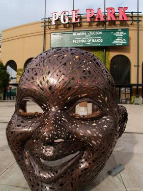 Bronze Face at PGE Park, Home of the Portland Beavers and Portland Timbers, Portland, Oregon, USA by Janis Miglavs