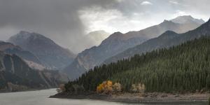 China, Xinjiang, Xinjiang Uygur. Heaven Lake in Tianshan Mountains by Janis Miglavs