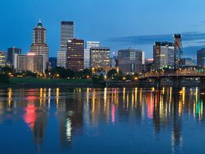 City Lights Glowing at Night, Portland, Oregon, USA by Janis Miglavs