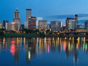 City Lights Glowing at Night, Portland, Oregon, USA by Janis Miglavs