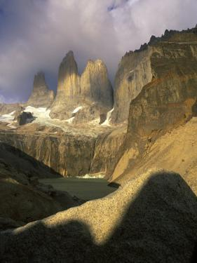 Clouds over Torres del Paine Mountains, Patagonia, Chile by Janis Miglavs