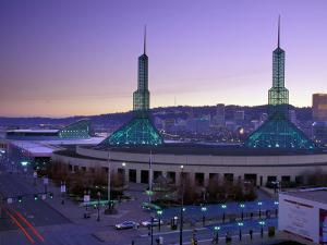 Convention Center at Sunset, Portland, Oregon, USA by Janis Miglavs