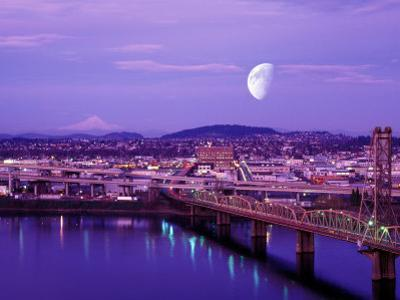 Moon Over the City with Mt Hood in the Background, Portland, Oregon, USA by Janis Miglavs