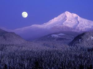 Moon Rises Over Mt. Hood, Oregon Cascades, USA by Janis Miglavs