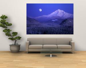 Moonrise over Mt. Hood, Oregon, USA by Janis Miglavs