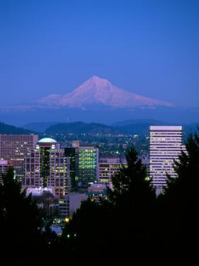 Night View of Downtown and Mt Hood, Portland, Oregon, USA by Janis Miglavs
