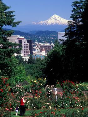 People at the Washington Park Rose Test Gardens with Mt Hood, Portland, Oregon, USA by Janis Miglavs
