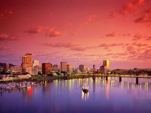 The Portland Spirit on the Willamette River at Sunrise in Portland, Oregon, USA by Janis Miglavs