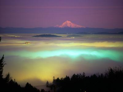 Willamette River Valley in a Fog Cover, Portland, Oregon, USA by Janis Miglavs