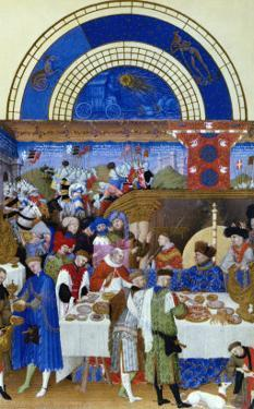January: Banquet Scene by the Limbourg Brothers (Facsimile Manuscript)