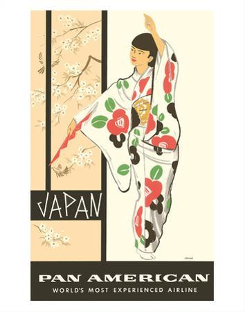 Japan - Japanese Geisha Dancer in Kimono - Pan American World Airways by A Amspoker
