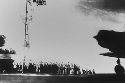 Japanese Aircraft Carrier Crew Waves to Planes Taking Off to Bomb Pearl Harbor
