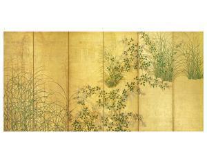 Japanese Autumn Grasses, Six-Fold Screen, Early Edo Period