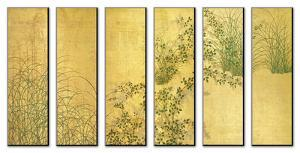 Japanese Autumn Grasses, Six-Fold Screen, Early Edo Period